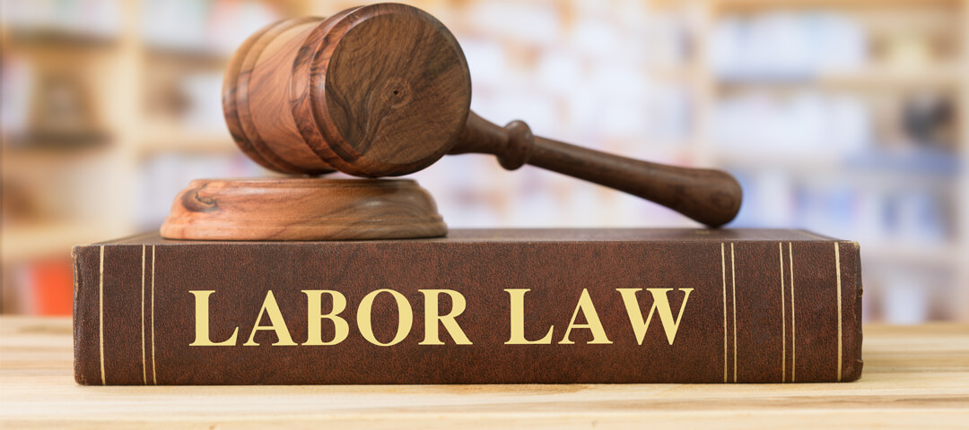 Labor Law book and gavel